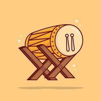 Cute Bedug muslim drum icon illustration vector