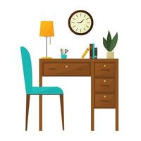 Workplace, desktop. Office interior. An office without a computer. Colorful vector illustration in flat cartoon style.