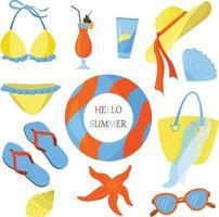 ilustración vectorial plana sobre el tema del verano. vacaciones en la playa. colores brillantes de verano. temporada de mar. recurso. vector