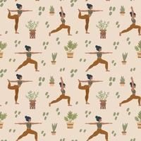 Yoga background. Girls do pilates and meditation. Pattern with people in different poses. Outdoor workout pattern for textiles. vector