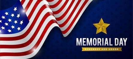 Memorial Day Background with Realistic Flag vector