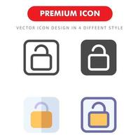 unlock icon pack isolated on white background. for your web site design, logo, app, UI. Vector graphics illustration and editable stroke. EPS 10.