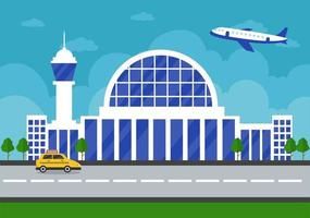 Airport Terminal Building with Infographic Aircraft Taking off and Different Transport Types Elements Templates Vector Illustration