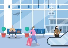gente nueva normal, ilustración vectorial en máscaras sentado en la terminal interior del aeropuerto, concepto de viajes de negocios. diseño plano. vector