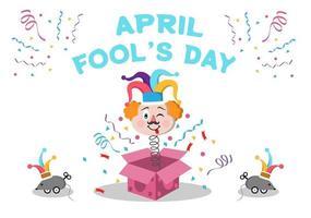 Celebration Happy April Fool's Day Wearing a Jester Hat Background Design Concept. Vector Illustration