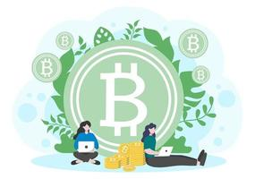 Cryptocurrency Illustration Flat Design with Businessman Miners and Coins. for Financial Technology, Blockchain, and Data Analysis. vector