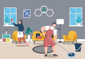 Cleaning Service Concept. Vector Flat Design Cartoon Illustration