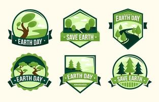 Earth Label Set Collection vector