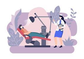Ilustración de color plano de consultorio dental. Interior del hospital con lugar de trabajo, equipos, instrumentos, consulta, tratamiento y diagnóstico. vector