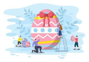 Happy Easter Day Flat Design Illustration Background for Poster, Invitation, and Greeting Card. Rabbit and Eggs Concept. vector