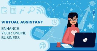 asistente virtual gestión empresarial ilustración plana vector