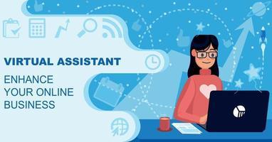 virtual assistant business Management flat illustration vector