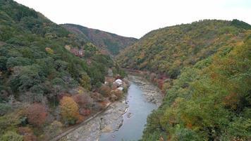 el río y el bosque en otoño en arashiyama en kyoto, japón