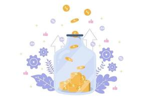 Investments Flat Illustration for Banner Business Solution, Web Page Analysis of Sales, Statistic Grow Data, Accounting, Innovative Ideas, and Cash Profits Concept vector