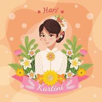 Beautiful Cute Kartini Character vector