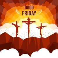 viernes santo con silueta jesús cruz vector