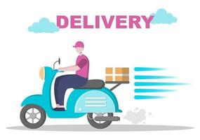 Flat Illustration of Online Delivery for Order Tracking, Courier Service, Goods Shipping, City Logistics using a Truck or Motorcycle vector