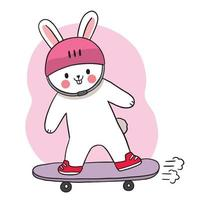 Hand draw cartoon cute Rabbit playing on skateboard
