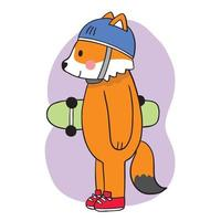 Hand draw cartoon cute Fox playing on skateboard