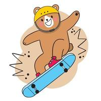 Hand draw cartoon cute Bear playing on skateboard