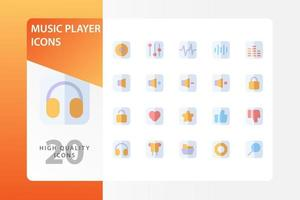 Music Player icon pack isolated on white background. for your web site design, logo, app, UI. Vector graphics illustration and editable stroke. EPS 10.
