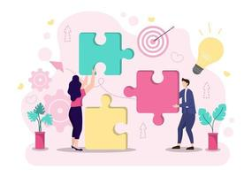 Startup Flat Illustration of Business Development Process, Innovation Product, and Creative Idea. vector