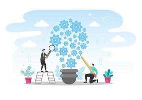 Ilustración plana de inicio del proceso de desarrollo empresarial, producto de innovación e idea creativa. vector