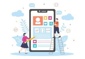 ilustraciones planas de desarrollo web para sitios web, programación, materiales de marketing, presentaciones comerciales, publicidad en línea y aplicaciones móviles vector
