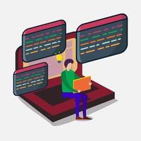 Ilustración del concepto de desarrollo de programación de aplicaciones. vector