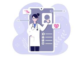 Online Healthcare and Medical Concept of Doctor Vector Illustration, Medicine Consultation and Treatment via Application of Smartphone or Computer Connected Internet Clinic