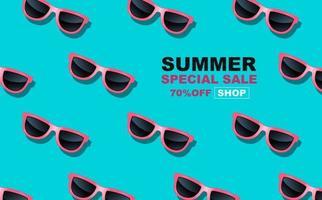 summer time design with glasses, pop art banner vector