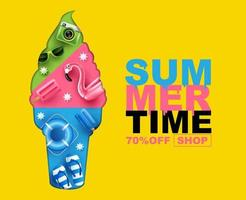 summer time ice cream with elements layout design, banner, cover vector illustration