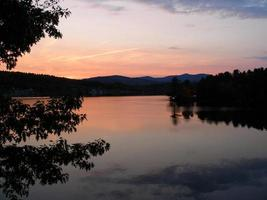 Lake in the sunset photo
