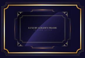 golden frame in golden line style on blue vector