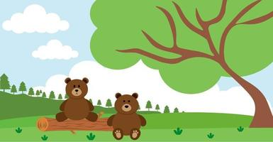 Bear Vector Cute Animals in Cartoon Style, Wild Animal, Designs for Baby clothes. Hand Drawn Characters