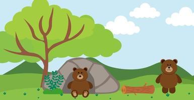 oso vector animales lindos en estilo de dibujos animados, animales salvajes, diseños para ropa de bebé. personajes dibujados a mano