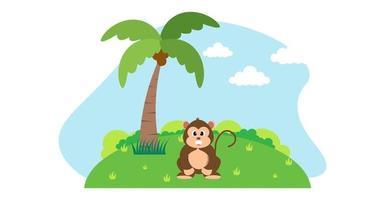 mono vector animales lindos en estilo de dibujos animados, animales salvajes, diseños para ropa de bebé. personajes dibujados a mano
