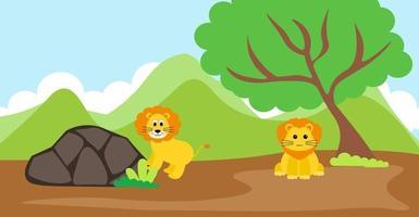 León vector animales lindos en estilo de dibujos animados, animales salvajes, diseños para ropa de bebé. personajes dibujados a mano