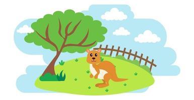 canguro vector animales lindos en estilo de dibujos animados, animales salvajes, diseños para ropa de bebé. personajes dibujados a mano