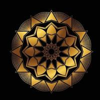 Round Gradient Mandala on Black Isolated Background. vector