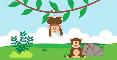 Monkey Vector Cute Animals in Cartoon Style, Wild Animal, Designs for Baby clothes. Hand Drawn Characters
