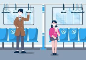 People Wearing Masks and Maintaining Social Distancing While Traveling by Train to Prevent Coronavirus Disease, Vector Illustration