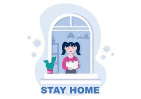 Stay at Home for Quarantine or Self Isolation to Reduce the Risk of Infection To Prevent Coronavirus. Vector Illustration