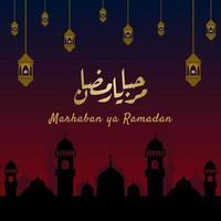 banner marhaban ya ramadhan con caligrafía, mezquita, linterna en color pastel adecuado para tarjetas de felicitación, folletos, carteles, portadas, web, publicaciones en redes sociales o historias vector