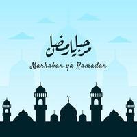 banner marhaban ya ramadhan con caligrafía, mezquita en color pastel adecuado para tarjetas de felicitación, folletos, carteles, portadas, web, publicaciones en redes sociales o historias vector