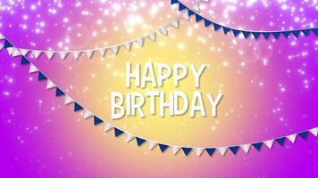 closeup animado feliz aniversário com guirlanda colorida no fundo do feriado