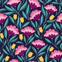 Ethnic flowers seamless pattern vector
