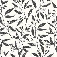 Hand drawn plant black and white seamless pattern vector
