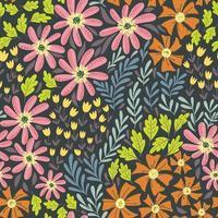 patrón de flores silvestres lindo simple vector