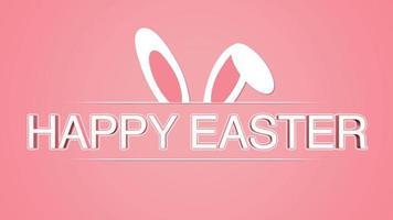 animierte Nahaufnahme glücklich Ostern Text und Kaninchen auf Rose Hintergrund video